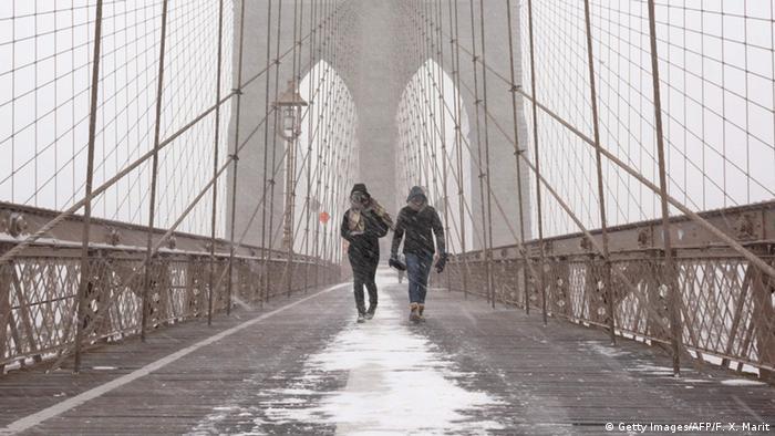 New York Brooklyn Bridge with snow