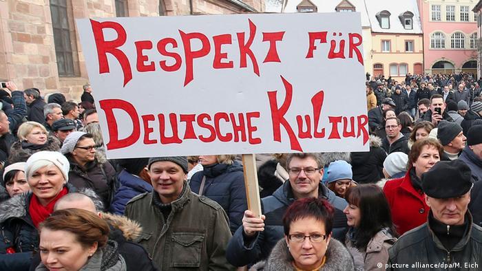 Демонстрация российских немцев против притока беженцев в ФРГ