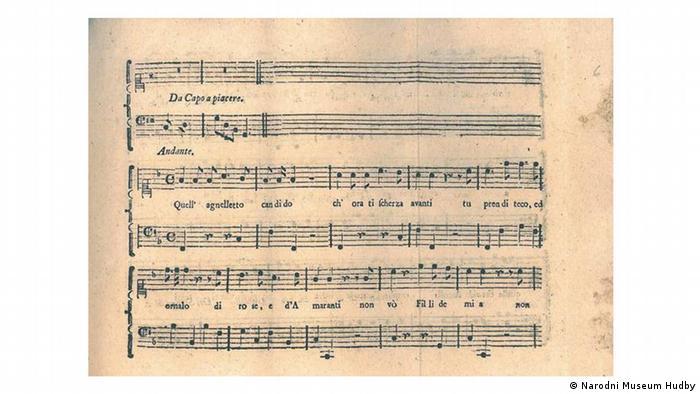 Моцарт и Сальери на одной странице: на этой, третьей странице нотной вклейки мы видим конец сочиненного Сальери и начало строфы, положенной на музыку Моцартом