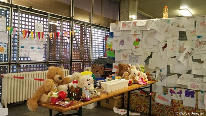 A table set-up with toys for newly arrived migrants at Schönefeld Airport