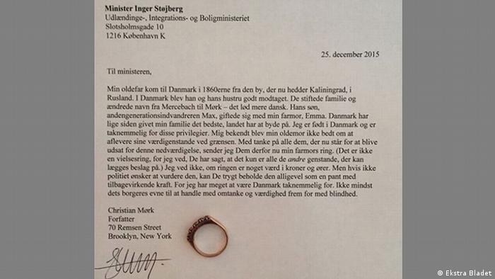Dänemark Öffentlicher Brief von Minister Inger Stojberg