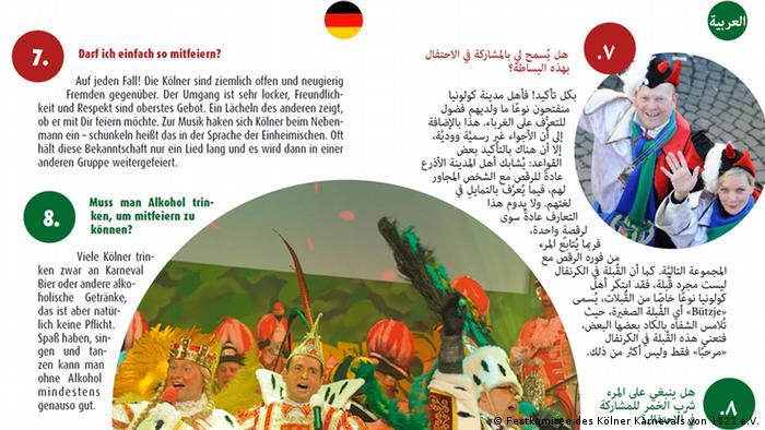 Deutschland Kölner Karneval Flyer mit Erklärungen auf Deutsch und Arabisch