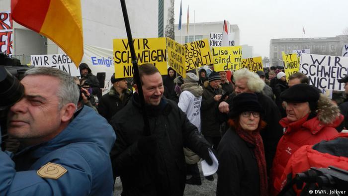 Митинг немцев-переселенцев у ведомства федерального канцлера, 23 января
