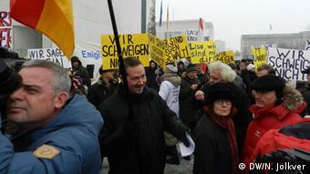 Демонстрация российских немцев в защиту девочки Лизы у ведомства федерального канцлера