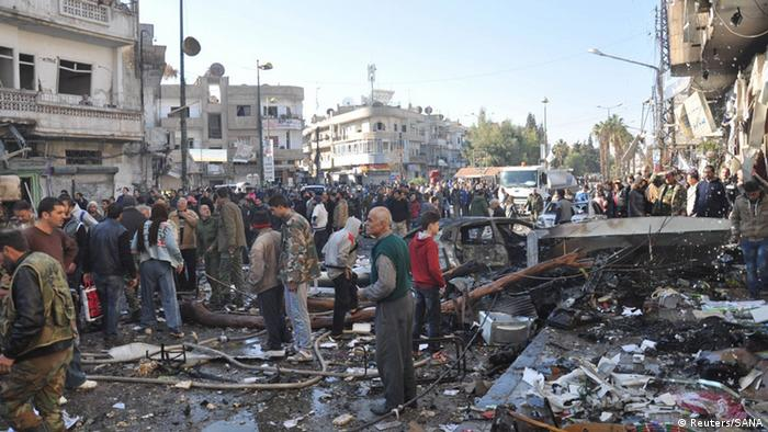 A bombed out neighborhood in the Syrian city of Homs