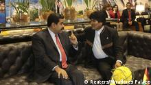 27.01.2016+++ Venezuela's President Nicolas Maduro (L) talks with Bolivia's President Evo Morales during a meeting at a summit of the Community of Latin American and Caribbean States (CELAC) in Pomasqui, on the outskirts of Quito, in this handout picture provided by Miraflores Palace on January 27, 2016. REUTERS/Miraflores Palace/Handout via Reuters ATTENTION EDITORS - THIS PICTURE WAS PROVIDED BY A THIRD PARTY. REUTERS IS UNABLE TO INDEPENDENTLY VERIFY THE AUTHENTICITY, CONTENT, LOCATION OR DATE OF THIS IMAGE. THIS PICTURE IS DISTRIBUTED EXACTLY AS RECEIVED BY REUTERS, AS A SERVICE TO CLIENTS. FOR EDITORIAL USE ONLY. NOT FOR SALE FOR MARKETING OR ADVERTISING CAMPAIGNS. +++ (C) Reuters/Miraflores Palace