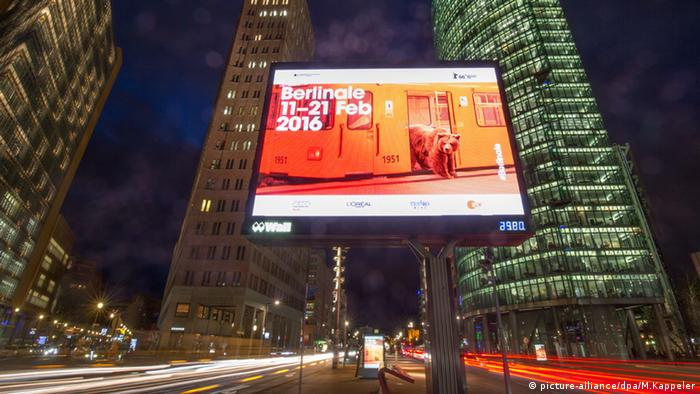 Berlinale advertisement on Potsdamer Platz in Berlin, 2016. Copyright: picture-alliance/dpa/M.Kappeler