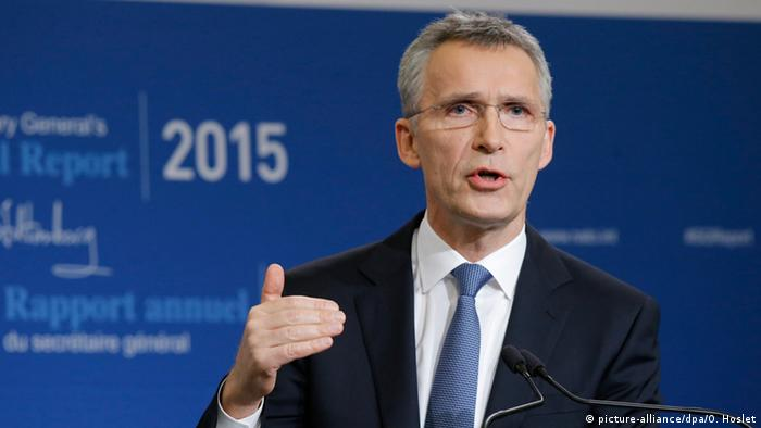 Stoltenberg said tensions were still high in the east after Russia's annexation of Crime from the Ukraine