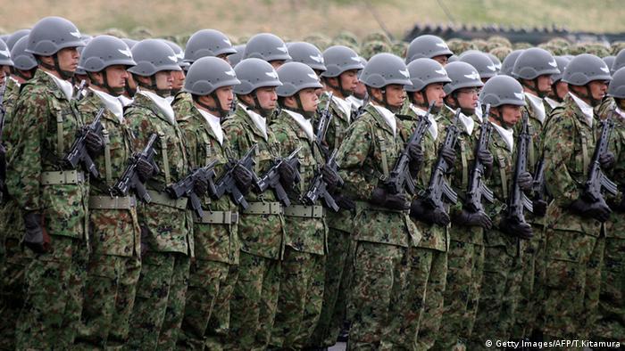 Japan Spezial Armee Bodenverteidigung Zeremonie Asaka Kaserne Tokio