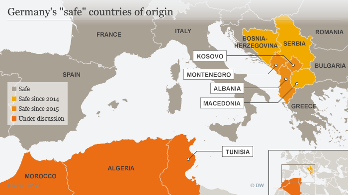 Map showing Germany's safe countries of origin