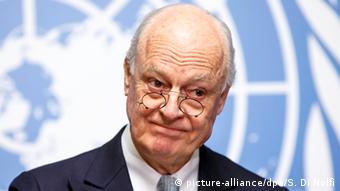 Genf Friedensverhandlungen zu Krieg in Syrien Staffan de Mistura