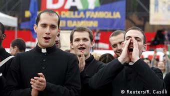 Priests shout slogans against same-sex civil unions