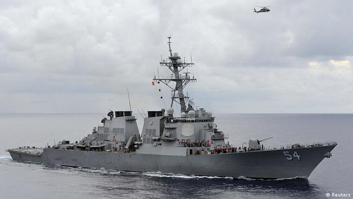 USS Curtis Wilbur, a missile destroyer vessel in the open sea