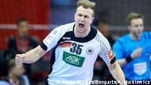 31.1.2016** Bildunterschrift:KRAKOW, POLAND - JANUARY 31: Julius Kuhn from Germany celebrates after scoring during the Men's EHF Handball European Championship 2016 Final match between Germany and Spain at Tauron Arena Hall on January 31, 2016 in Krakow, Poland. (Photo by Adam Nurkiewicz/Bongarts/Getty Images) Getty Images/Bongarts/A. Nurkiewicz
