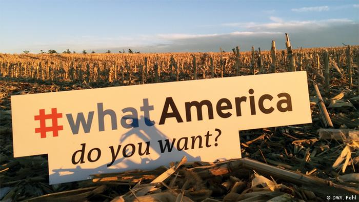 #WhatAmerica sign in an Iowa cornfield