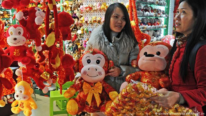 Chinesisches Frühlingsfest 2016 Verkäuferin Affen Stofftiere