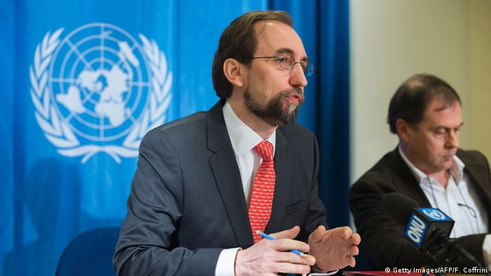 United Nations High Commissioner for Human Rights Zeid Ra'ad Al Hussein (L) speaks during a press conference.