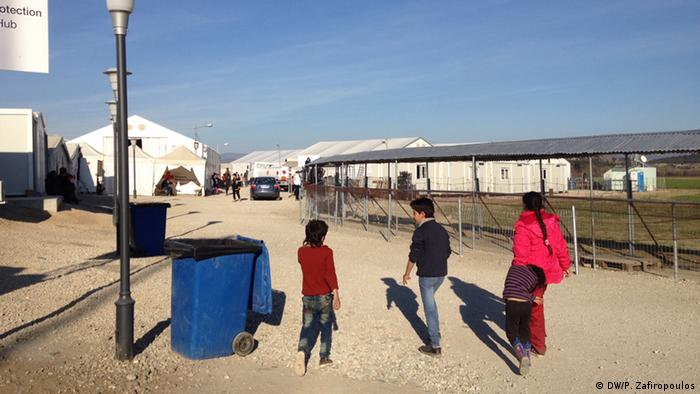 Children at a camp for migrants at Idomeni