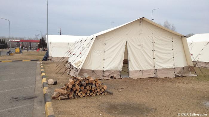 Tents for migrants at a camp at a gas station near Evzones, Greece