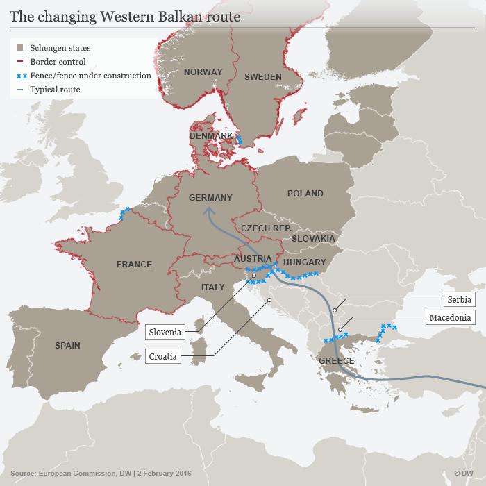 Infographic showing Schengen refugee routes