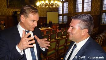 Ο νυν δήμαρχος Λειψίας Μπούρκχαρντ Γιουνγκ με τον δήμαρχο Δράμας Χριστόδουλο Μαμσάκος