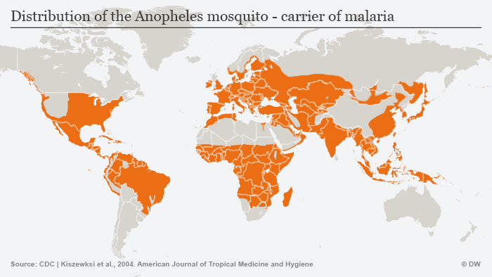 Occurance of malaria in Africa (light colors mean more cases, from 0 to more than 685 taken ill per 1,000 people per year)
