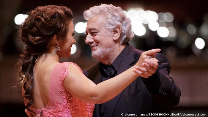 Placido Domingo and female opera singer Olga Peretyatko