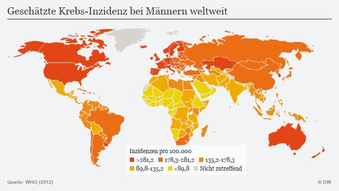 Infografik Krebs weltweit bei Männern