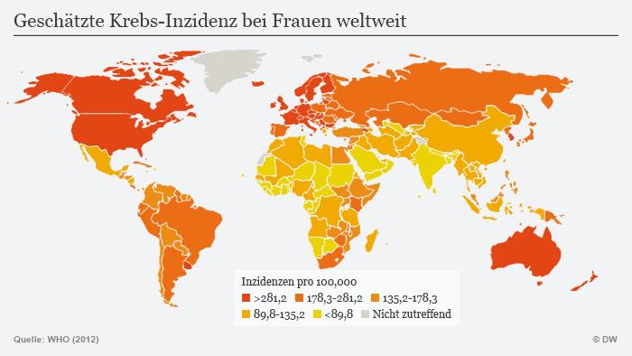 Infografik Krebs bei Frauen weltweit