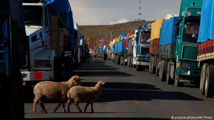 Bolivien Straßensperrung