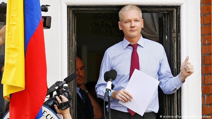 Assange in the Equador Embassy in London on August 19, 2012