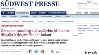 Südwest Presse izvještava o oružju koje je u opticaju na crnom tržištu Balkana