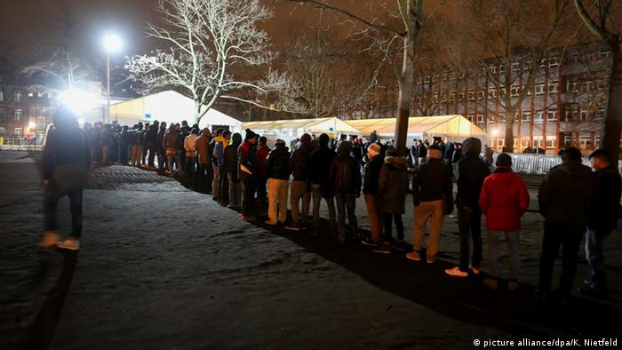 Line of refugees