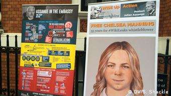 Posters of Assange and Chelsea Manning
