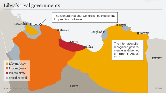 A map of Libya illustrating where various armed factions hold control