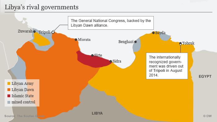 Infografik Libyens rivalisierende Regierungsgruppen