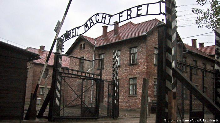 Entrance to the former German Nazi camp Auschwitz