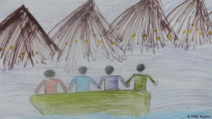 Mazedonisch-griechische Grenze Kinder auf der Balkanroute Bild