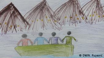 Παιδική ζωγραφιά με προσφυγόπουλα