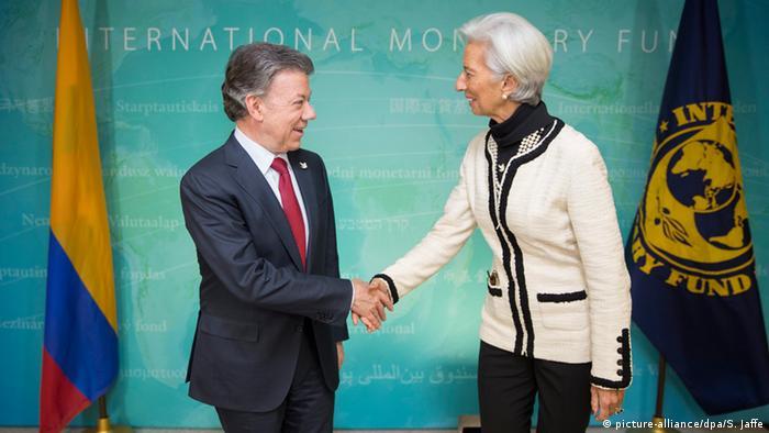 IMF Christine Lagarde und Kolumbiens Präsident Juan Manuel Santos