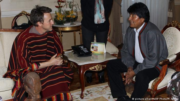 Bolivien Edward Norton und Evo Morales