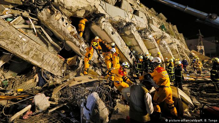 Rescue workers in Tainan