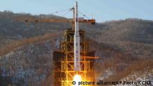 12.12.2012 FILE - In this Dec. 12, 2012, file photo released by the Korean Central News Agency (KCNA), North Korea's Unha 3 rocket lifts off from the Sohae launch pad in Tongchang-ri, North Korea. The Unha 3 rocket that launched the ¿Bright Star¿ satellite into space in 2012 is a symbol of North Korea¿s technological successes and a matter of great national pride. The country plans another launch to put Earth observation satellite into orbit in February, 2016. Although the equipment it will use is not yet known, the launch could also advance its military-use missile technology further. (KCNA via AP, File) NORTH KOREA OUT picture alliance/AP Photo/KCNA