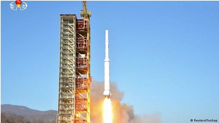 A North Korean long-range rocket is launched