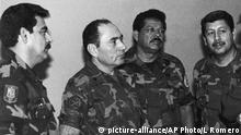 FILE - This July 1989 file photo shows, from left, Col. Rene Emilio Ponce, then head of the Salvadoran Armed Forces joint chiefs of staff, Rafael Humberto Larios, then El Salvador's defense minister, Col. Inocente Orlando Montano, then public safety vice minister and Col. Juan Orlando Zepeda, then defense vice minister, in an undisclosed location in El Salvador. Salvadoran military implicated in the murder of six Jesuit priests in 1989 said they are innocent and that the real culprits have already been tried, convicted and amnestied. On Tuesday, Feb. 2, 2016, seven former soldiers put out a statement saying they are victims of political persecution and that they filed with the Supreme Court a writ of habeas corpus to avoid being captured and extradited to Spain. Ponce, left, died in El Salvador on May 2, 2011. (La Prensa Grafica via AP, File) EL SALVADOR OUT - NO PUBLICAR EN EL SALVADOR Copyright: picture-alliance/AP Photo/L Romero