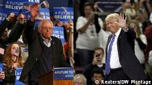 Combo-photo shwoing Bernie Sanders and Donald Trump