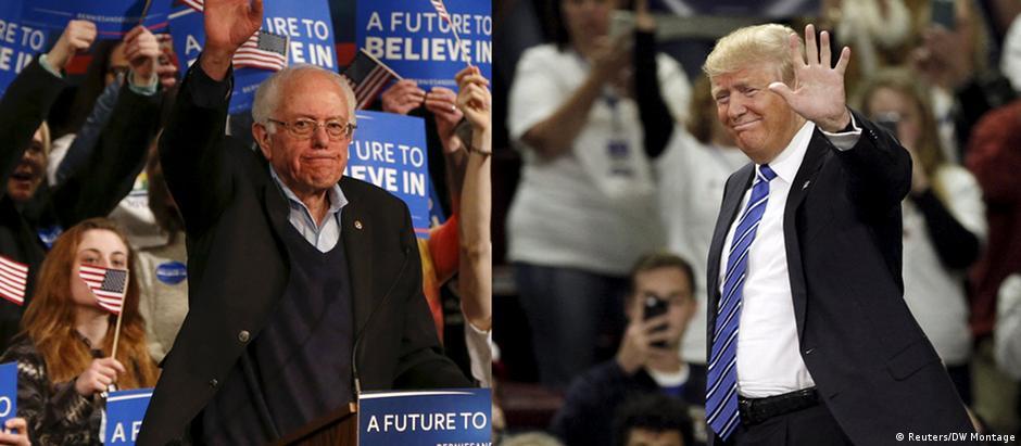 O democrata Bernie Sanders (esquerda) e o republicano Donald Trump em campanha eleitoral
