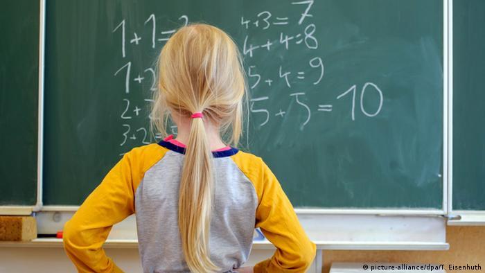 Schoolgirl stood in front of a chalkboard