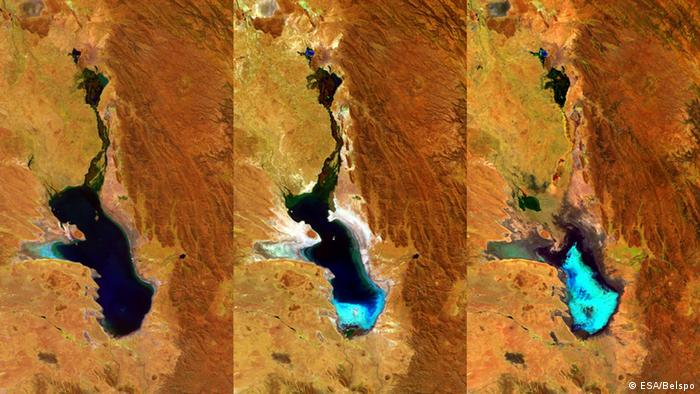 ESA satellite images of Lake Poopo in 2014, 2015 and 2016 (Copyright: ESA/Belspo)