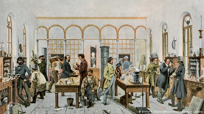 Лаборатория Юстуса фон Либиха в Гиссене, рисунок 1840 года